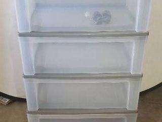 32in X 21in X16in Grey 4 Drawer Plastic Stackable Dresser