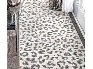 NulOOM Print leopard Runner Rug  2  8  x 8  Grey  Style  RZBD16A