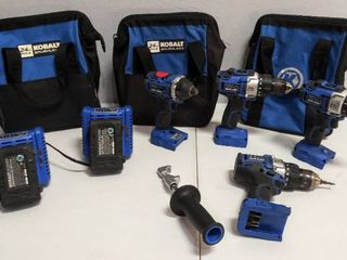Kobalt lot 24 V Cordless Drills   Impact Wrench w Carrying Bags  2 Battery Chargers   Batteries  Weak