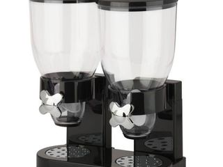 Honey Can Do Double Cereal Dispenser with Portion Control  Black   Chrome
