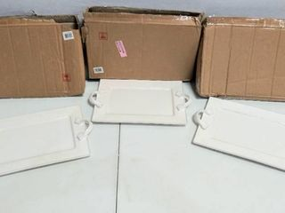 3 American Atelier Bianca Dash Rectangular Ceramic Platter  14  x 10  x 1 63
