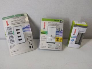 3 Pass   Seymour Items   Decorator Tamper Resistant Receptacle  15 Amp  4 2A Quad Charger    A 5 Amp White Slide Dimmer