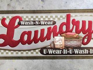 U Wear It  U Wash It laundry Room Mat   Vintage Style Wash Room Non Slip Mat   20  X 48