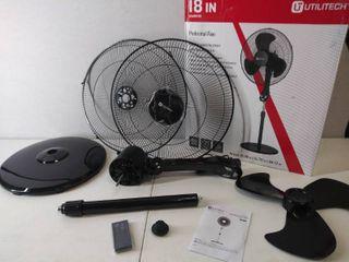 Utilitech 18 inch   3 speed Indoor Black Stand Fan   7 5 Hour Timer  Adjustable Height   Remote