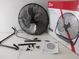 Utilitech 20 inch   3 Speed High Velocity Fan   Appears to have been used    Plugged in   Powered On