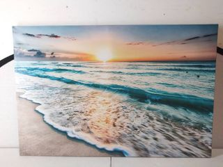 Beautiful Ocean Sunset Beach Picture on Canvas  47  W x 31 5  H