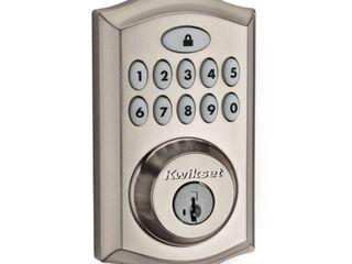 Kwikset 913 SmartCodeAr Ul Electronic Deadbolt featuring SmartKey in Satin Nickel