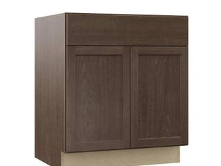 Hampton Bay Shaker Assembled 30x34 5x24 in  Base Kitchen Cabinet with Ball Bearing Drawer Glides in Brindle