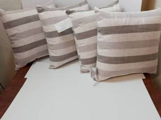 linen Pillows  Color brown and beige striped  qty 4