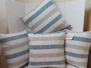 linen Pillows Color Blue green beige striped qty 4