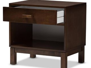 Deirdre Modern and Contemporary Walnut Wood 1 Drawer Nightstand Dark Brown   Baxton Studio