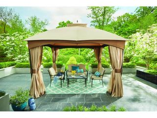 Hampton Bay 10 ft  x 12 ft  Turnberry Outdoor Patio Gazebo with Mosquito Netting and Private Curtain  Browns   Tans