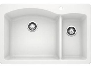 Blanco 511 641 Diamond 1 1 2 Bowl Kitchen Sink  White Finish