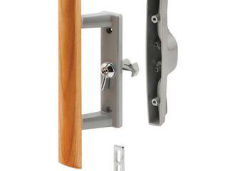 3 15 16 in  Gray Diecast  Sliding Patio Door Handle with Wood Handle