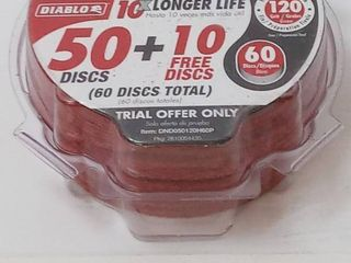 DIABlO 5 in  120 Grit SandNet Disc with Free Application Pad   50 Discs Plus 10 Free Discs  60 Pack