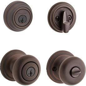 Kwikset 991 Juno Keyed Entry Knob and Single Cylinder Deadbolt Combo Pack featuring Smart Key in Venetian Bronze