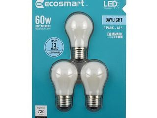 EcoSmart 60 Watt Equivalent A15 Dimmable Energy Star Frosted Filament lED light Bulb Daylight  3 Pack    package contains 1 broken bulb