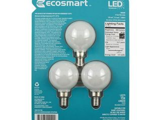 EcoSmart 60 Watt Equivalent G16 5 Dimmable Energy Star Frosted Filament lED light Bulb Daylight  3 Pack