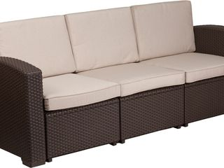 Flash Furniture Chocolate Brown Faux Rattan Sofa with All Weather Beige Cushions