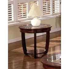 Furniture of America Curved Transitional Dark Cherry End Table  Retail 195 49 dark cherry and glass veneer