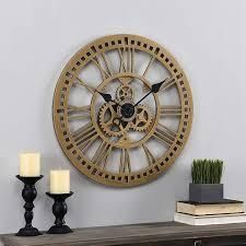 FirsTime   Co  Gold Roman Gear Clock  American Crafted  Aged Gold  Plastic  24 x 1 5 x 24 in   24 x 1 5 x 24 in