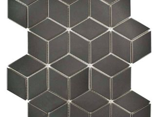 SomerTile 10 5x12 125 inch Victorian Rhombus Glossy Grey Porcelain Mosaic Floor and Wall Tile  10 tiles 9 04 sqft  Retail 95 49