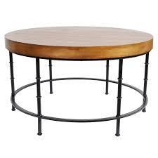 Harrelson Wood and Metal Round Coffee Table  Retail 184 49 honey nut and bronze