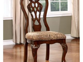 Furniture of America Carpia Formal Brown Cherry Dining Chair  Set of 2  Retail 363 99