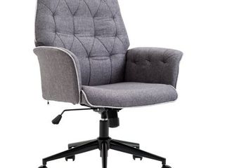 Adjustable Modern linen Upholstered Office Chair with lumbar Support and Arms  Retail 147 99