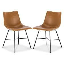 poly and bark chairs tan and black legs set of 2