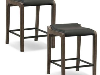 Brown White Wood Faux leather Fastback Counter height Stool  Set of 2  Retail 194 49