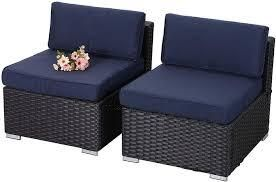 Phi Villa 6 piece Outdoor Rattan 2pc middle only blue cushion