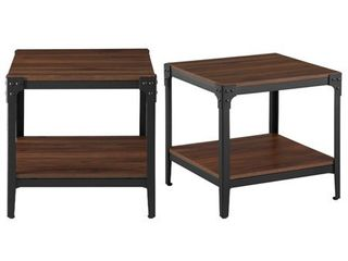 Rustic Wood End Tables  Set of 2    Dark Walnut