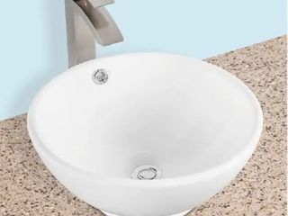 Ajello V416  16 inch Round Above the Counter Ceramic Bathroom Vanity Vessle Sink  Modern Style Counter Top Vanity Art Basin Bowl