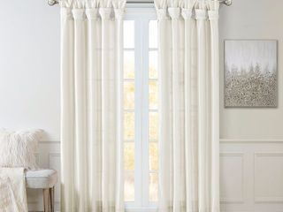 lillian Twisted Tab lined light Filtering Curtain Panel White