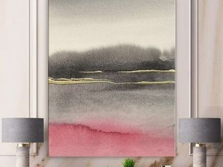 Designart  Pink Shabby Storm Shabby Chic Premium Canvas Wall Art