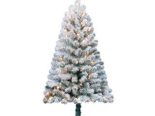 Holiday Time Pre lit 4  Greenfield Flocked Pine Green Artificial Christmas Tree  Clear lights