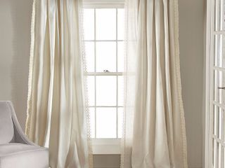 108 x54  Rosalie Rod Pocket light Filtering Window Curtain Panel Ivory   lush DAccor
