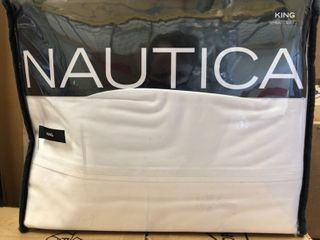 Nautica Cotton Percale Sheet Set  King  White