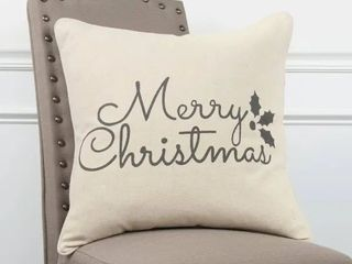 Rizzy Home Holiday sentiment Natural Decorative Poly Filled Pillow   20 x20