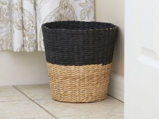 Household Essentials Hyacinth Paper Waste Basket  Charcoal Natural