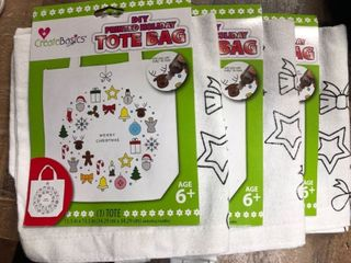 3 Pack   Christmas Do It Yourself Tote Bag Seasons Greetings Fabric Paint 13 x13