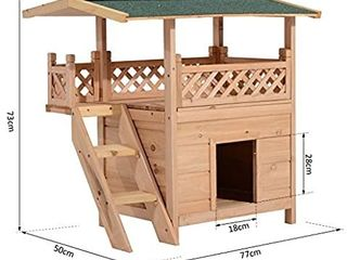 PawHut 2 Story Indoor Outdoor Wood Cat House Shelter with Roof