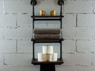 Juneau Farmhouse Industrial 3 Tier 18  24    30  Wide Etagere   18 Inch Wide   black   dark brown