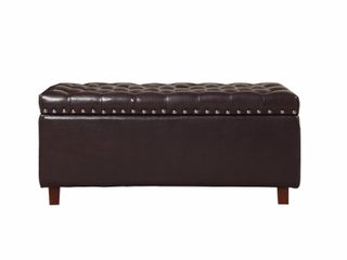 Bonded leather Storage Ottoman Bench  Brown  Retail 172 99
