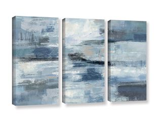 Silvia Vassileva  Clear Water Indigo and Gray  3 piece Gallery Wrapped Canvas Set  Retail 154 49