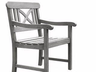 Vifah Renaissance Outdoor Hand scraped Arm Chair   Gray