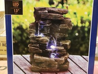 Alpine Corporation 11  Indoor   Outdoor Tabletop Rock Fountain with lED light