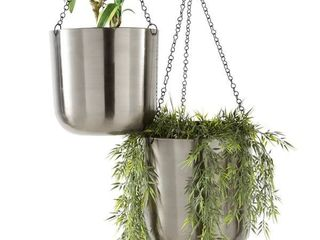 large  Round Metallic Silver Metal Hanging Indoor   Outdoor Planters Set of 2