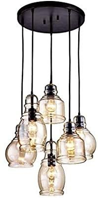 Jojospring Mariana Antique Black Cognac Glass 6 light Cluster Pendant Chandelier with Round Base